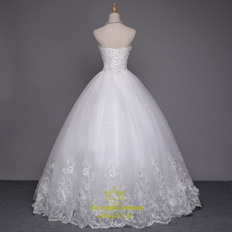 White beaded bodice ball gown wedding dresses with lace for Lace wedding dress overlay