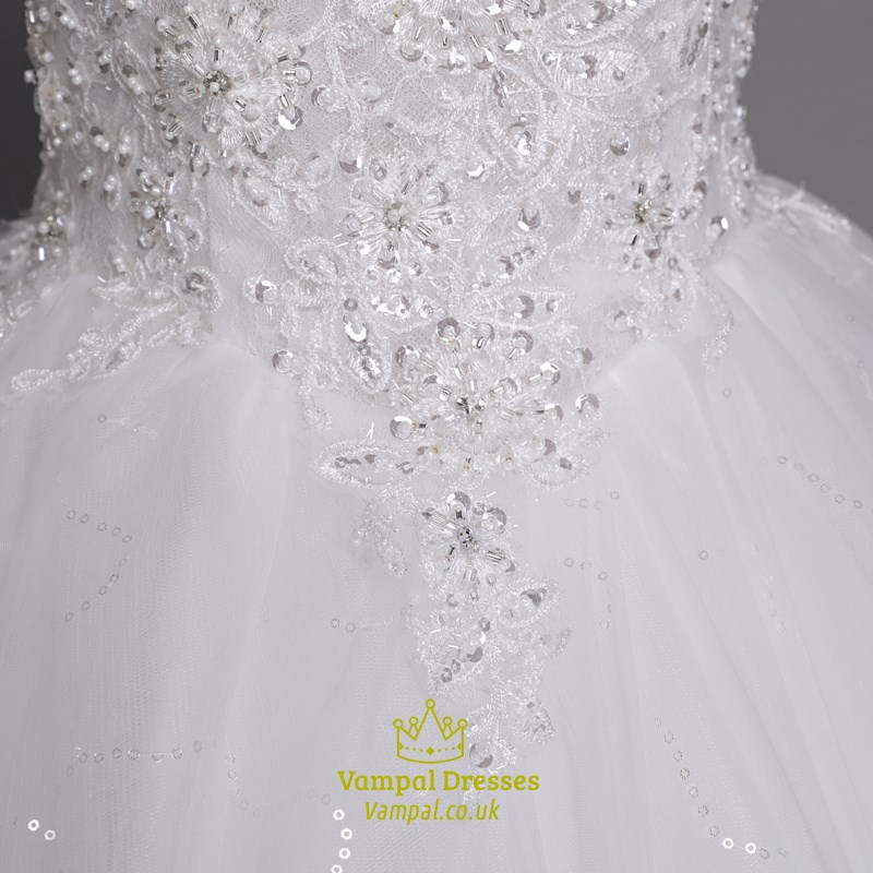 White Beaded Bodice Ball Gown Wedding Dresses With Lace Overlay ...