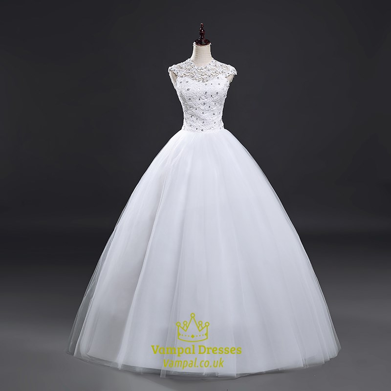 White Cap Sleeve Beaded Illusion Neckline Ball Gown With Lace ...