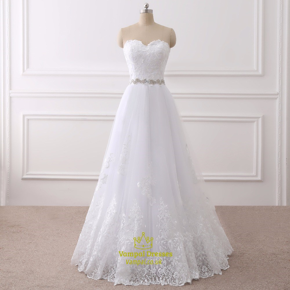 White lace overlay floor length wedding dress with beaded for Wedding dress lace overlay