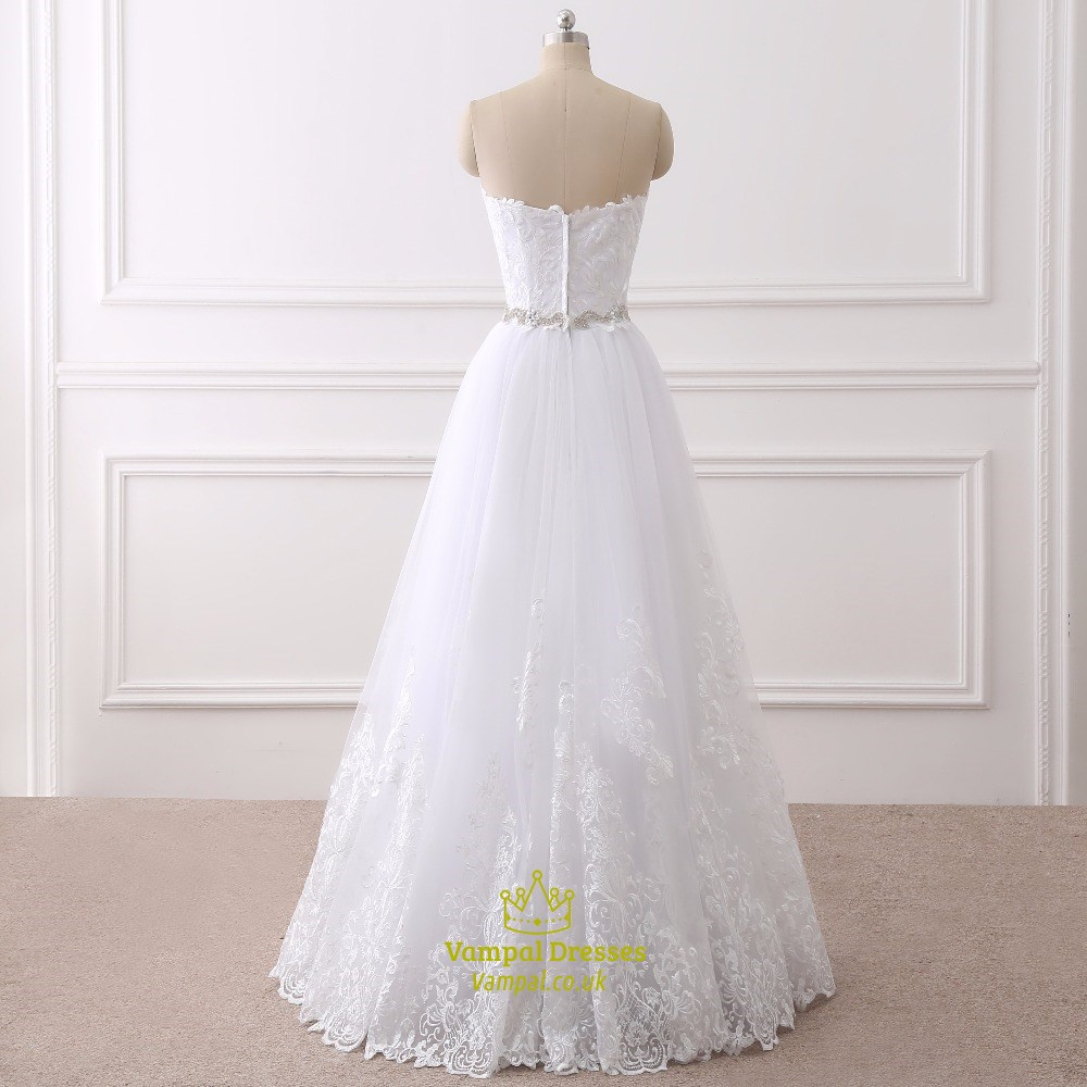 White Lace Overlay Floor Length Wedding Dress With Beaded