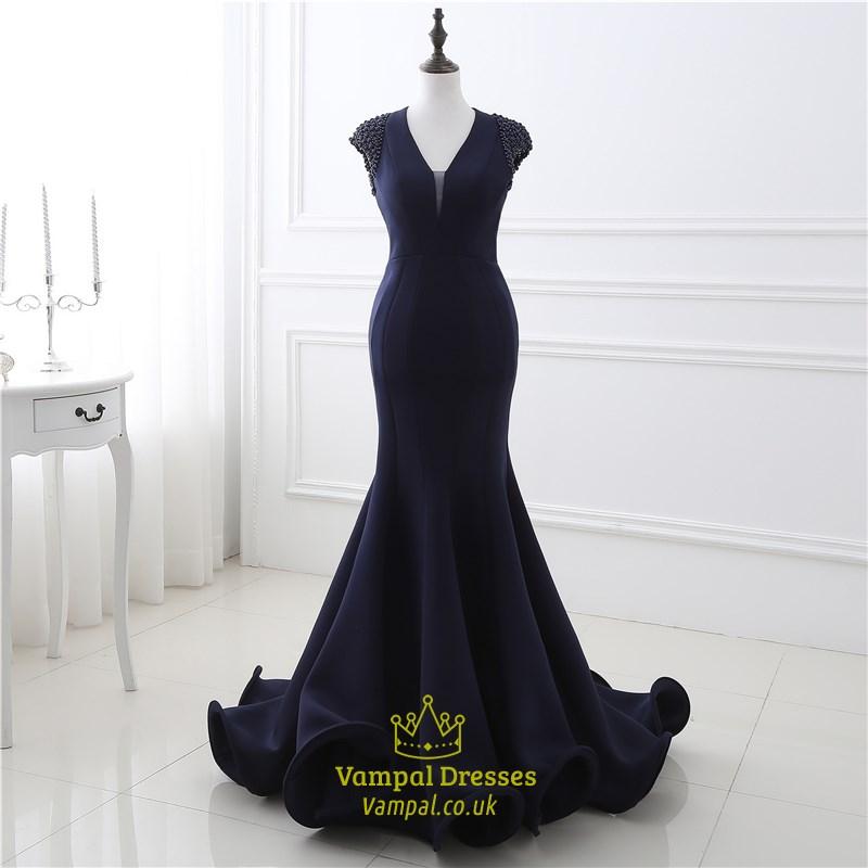 Navy Blue Backless Capped Sleeve Floor Length Mermaid Prom Dress ...