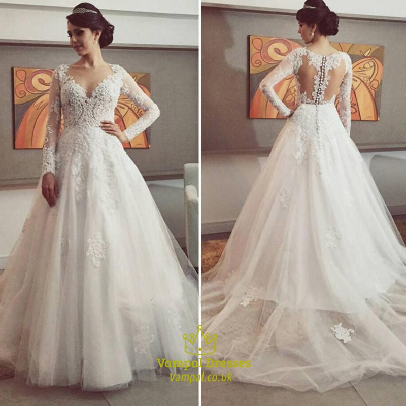 White V Neck Illusion Lace Bodice Ball Gown Wedding Dresses With Train Vampal Dresses