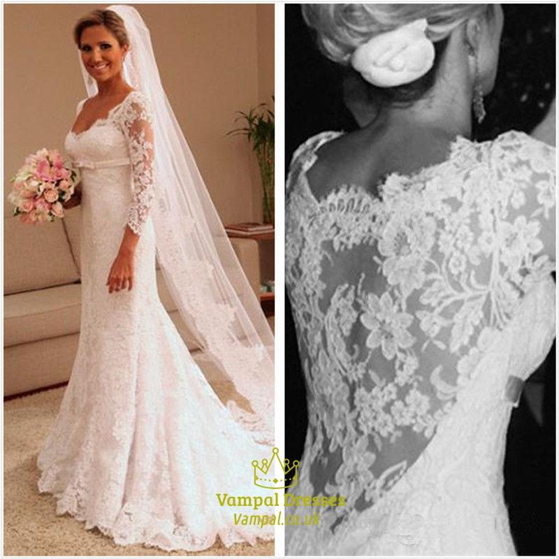 White Illusion Lace 3/4 Length Sleeve Mermaid Style Wedding Dresses ...