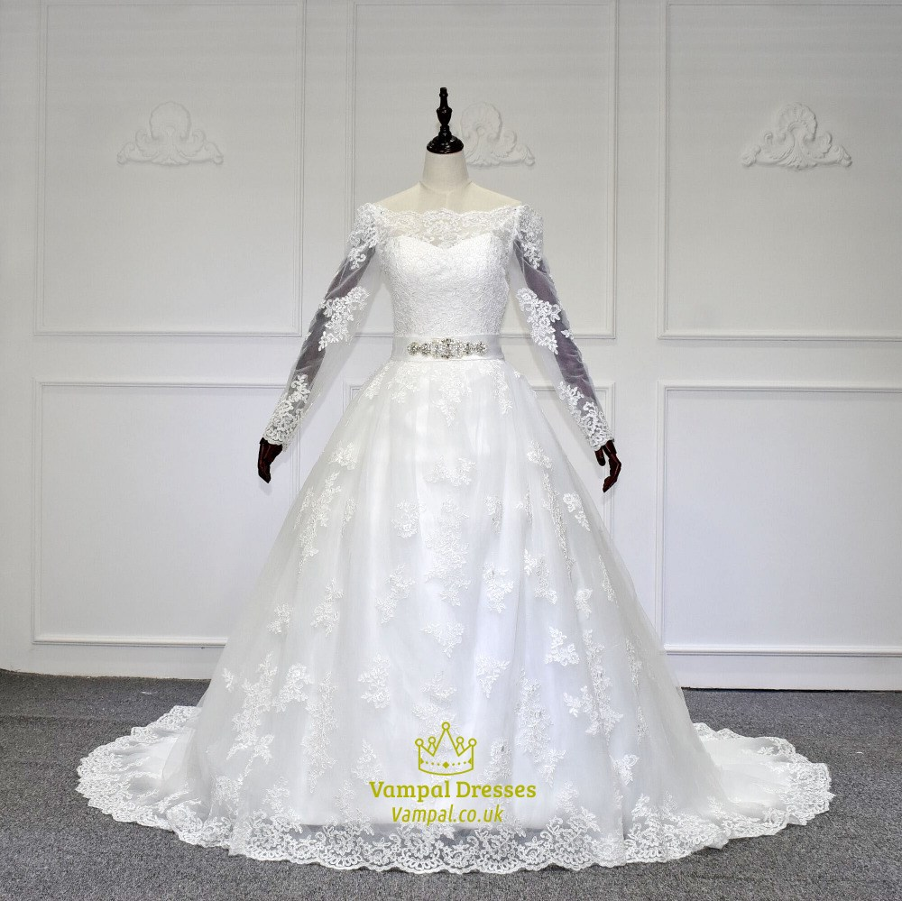 White Off The Shoulder Long Sleeve Wedding Dress With Lace . f04b99d48
