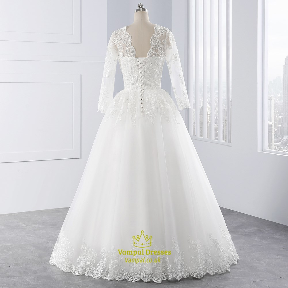 White illusion lace sleeve v neck wedding dress with lace for Wedding dress with illusion sleeves