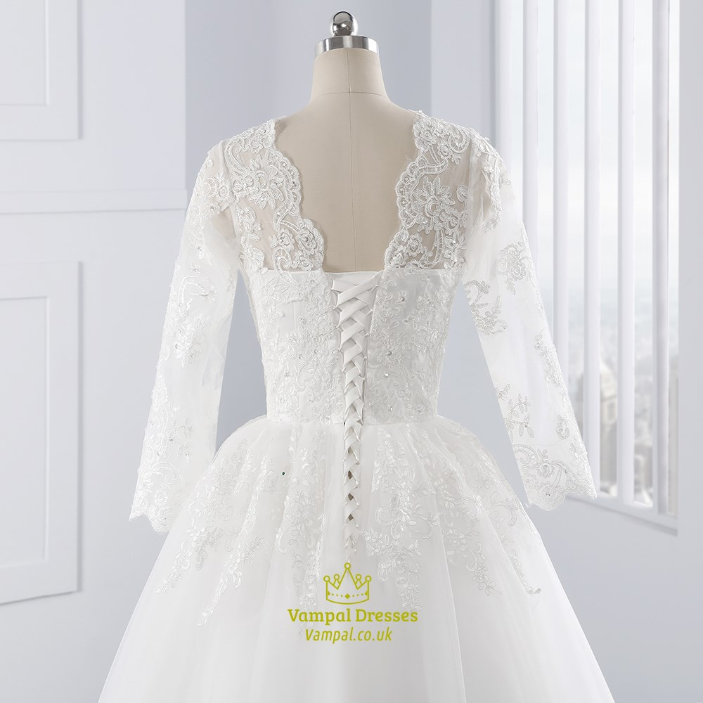 White illusion lace sleeve v neck wedding dress with lace for Wedding dress lace overlay