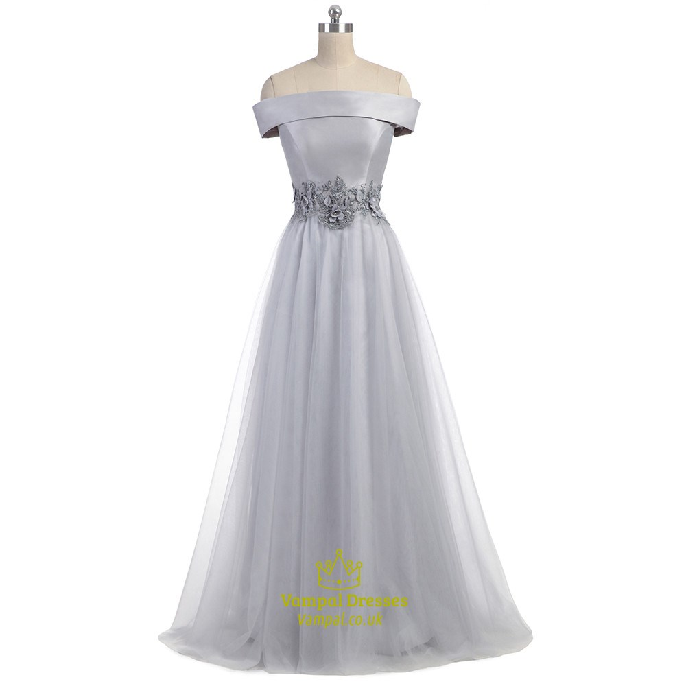 Gray tulle off the shoulder floor length prom dress with for Floor length dresses
