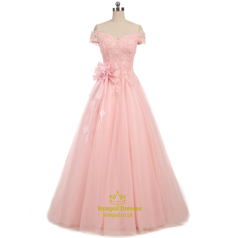 3f3ed30ce9 Pearl Pink Short Sleeve Off The Shoulder Prom Dress With Lace Bodice SKU  -FS2118
