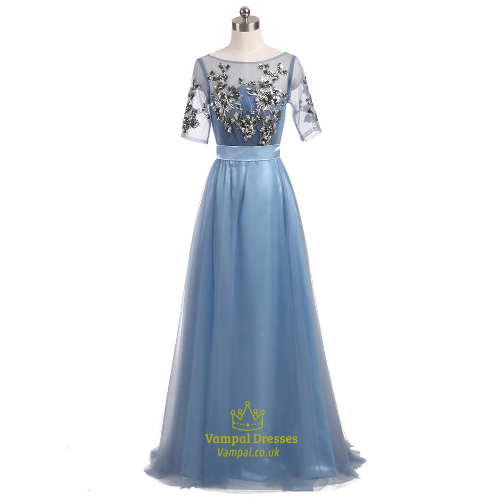 d898cafc99 Light Blue Short Sleeve Floor Length Prom Dress With Sequin Bodice SKU  -FS2120