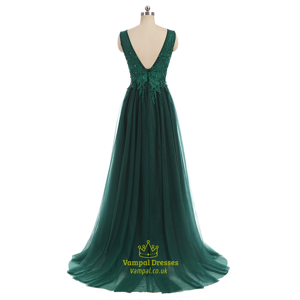 emerald green tulle v back sleeveless prom dress with lace