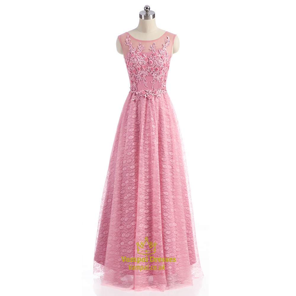 Pink Lace Cap Sleeve Illusion Neckline Prom Dress With