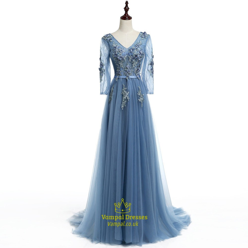 f67e48e011 Light Blue V Neck Illusion Long Sleeve Dress With Floral Applique SKU  -FS2140