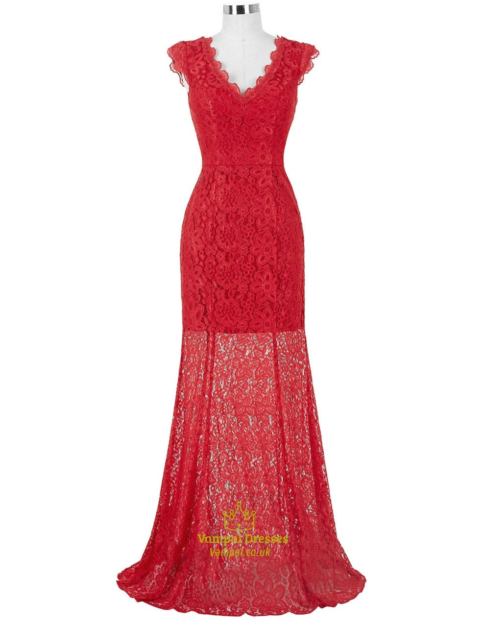 Red Lace Capped Sleeve V Neck Floor Length Prom Dress With ...