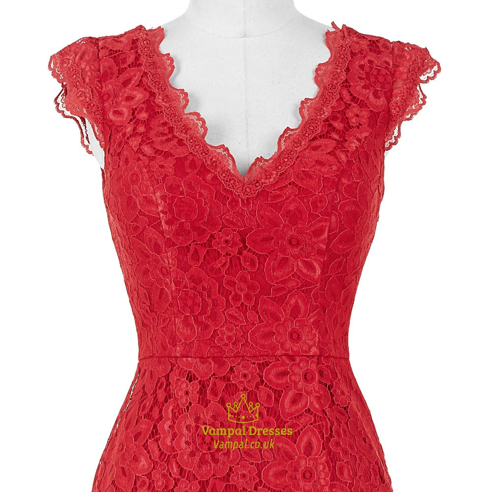 Red Lace Prom Dresses With Sleeves Red Lace Capped Sleeve...