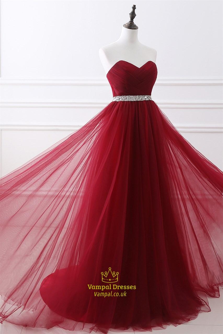 Burgundy Tulle Floor Length Prom Dress With Crystal Beaded