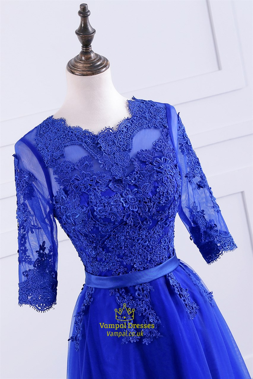 Royal Blue 3/4 Length Sleeve A Line Prom Dress With Lace ...