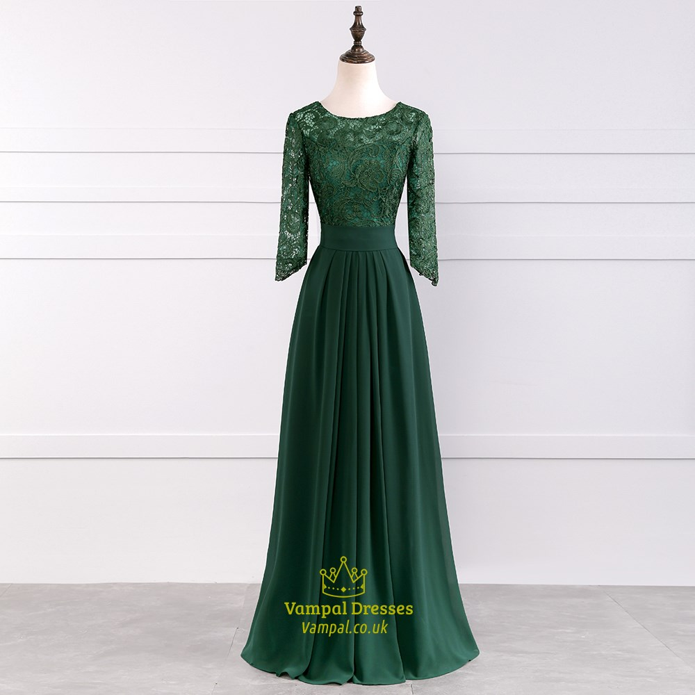 Emerald Green Illusion Lace Bodice 3/4 Length Sleeve Floor Length ...