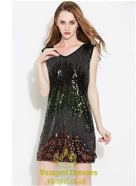 Black Beaded Short Cocktail Dresses
