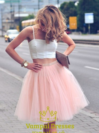 Light Pink Two Piece Spaghetti Strap A Line Tulle