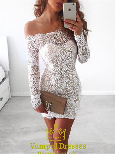 white off the shoulder long sleeve short sheath lace