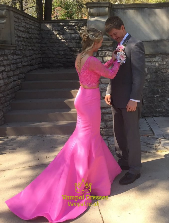Hot Pink Long Sleeves Lace Top Two Piece Mermaid Prom Dress With ...