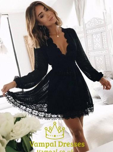 Cute Black Long Sleeve Deep V-Neck A-Line Short Lace Homecoming Dress SKU  -FS2300 6de533b63209