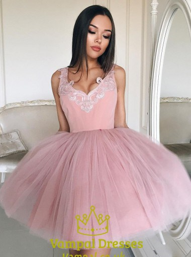 Sleeveless Lace Embellished Tulle Short Ball Gown Homecoming Dress ...