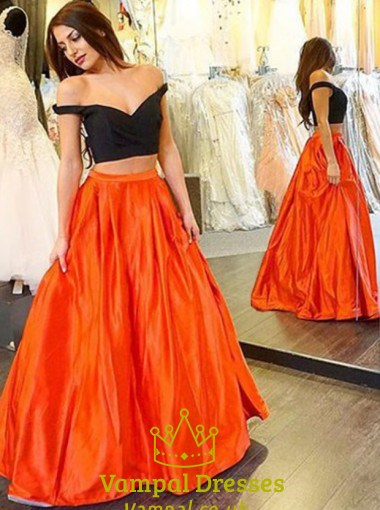 Elegant Orange And Black Two Piece Off The Shoulder A Line