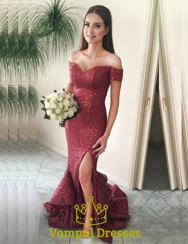 Burgundy Sequin Mermaid Off The Shoulder Prom Dress With Side Split