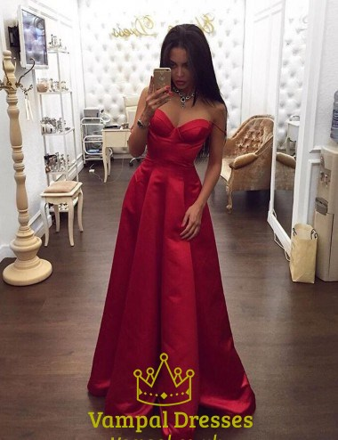 Red Simple Floor Length Strapless Sweetheart Neck A-Line