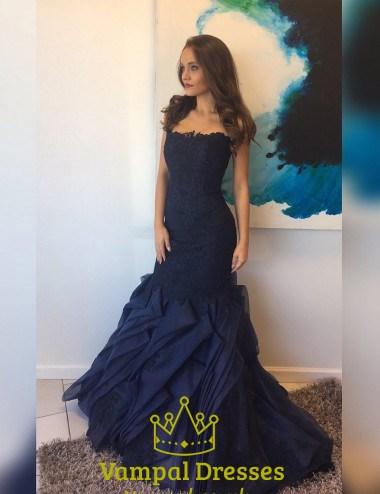 Navy Blue Strapless Lace Bodice Drop Waist Ruffle Mermaid ...