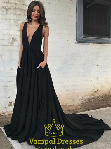 Black Sleeveless Backless Plunge V-Neck A-Line Prom Dress With Train ... 64153caed