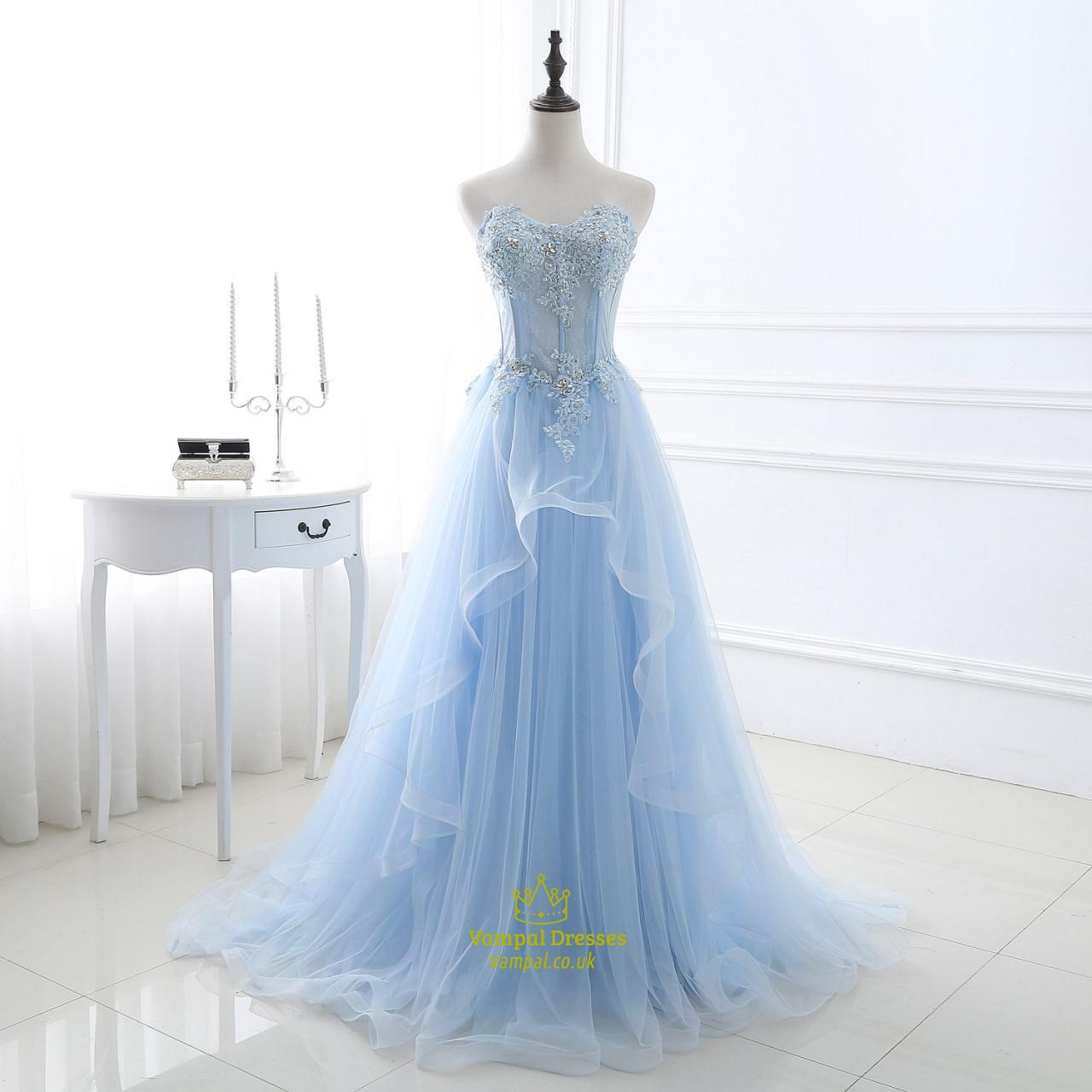 light blue strapless lace applique sequin embellished tulle ball gown vampal dresses. Black Bedroom Furniture Sets. Home Design Ideas