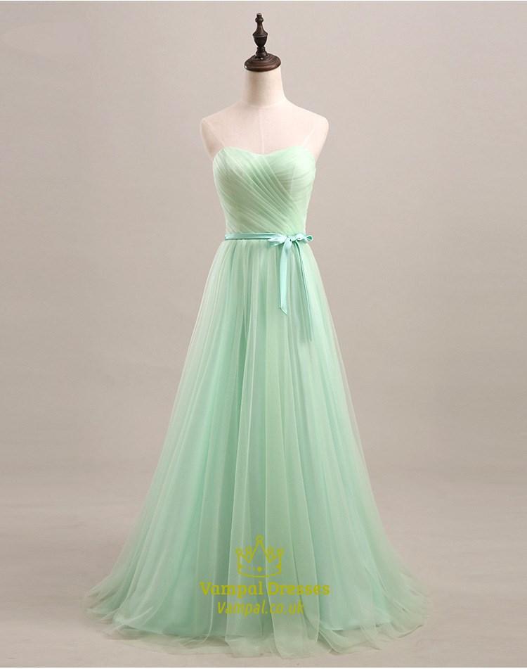 Light green strapless sweetheart a line tulle long for Light green wedding dress