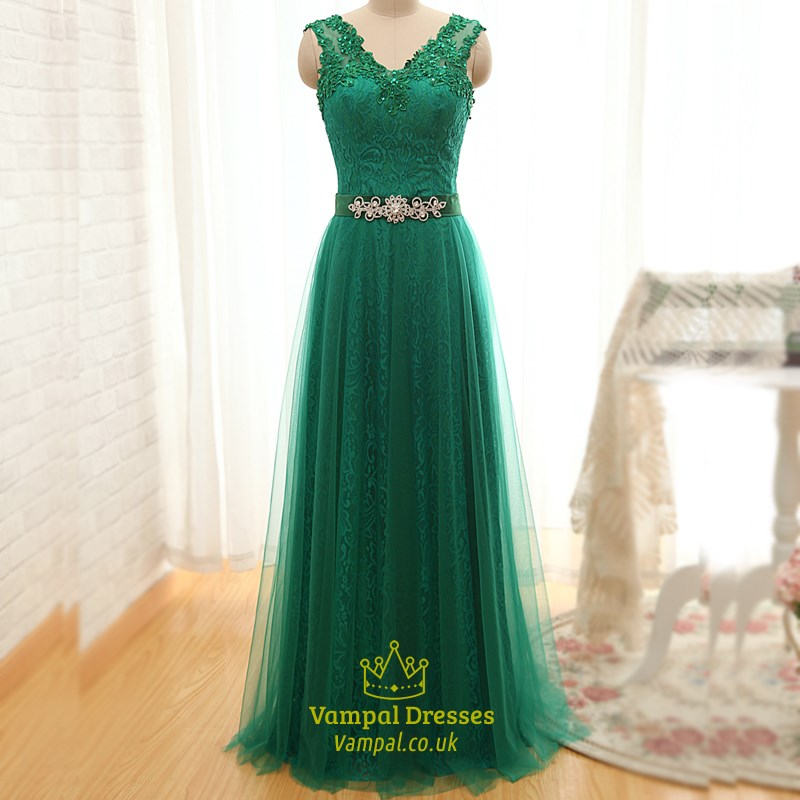 7fbc4f61cde Elegant Emerald Green A-Line Lace Long Prom Dress With Tulle Overlay SKU  -FS2446