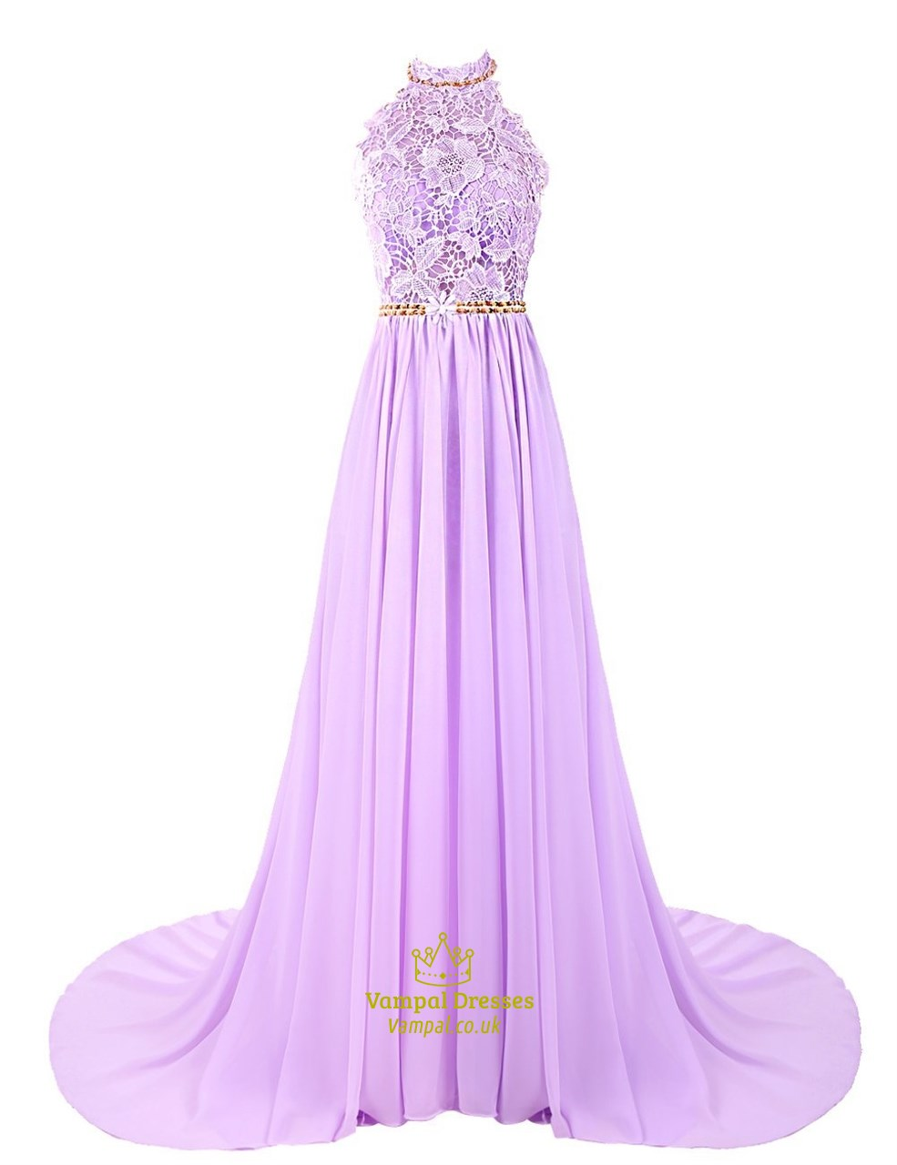 Lavender Backless Halter Lace Bodice Chiffon Floor Length