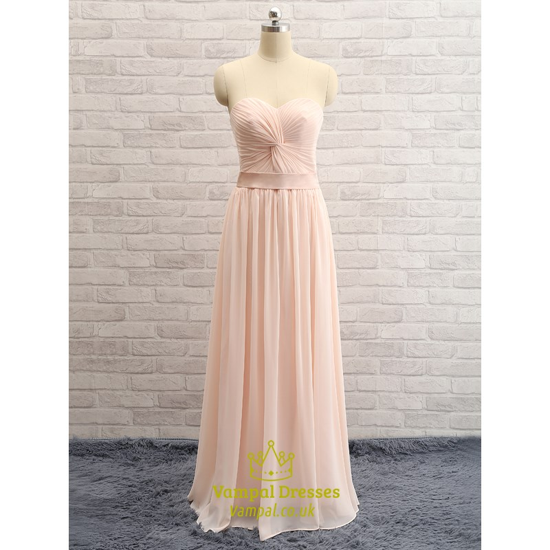 Blush Pink Strapless Sweetheart Floor Length Chiffon