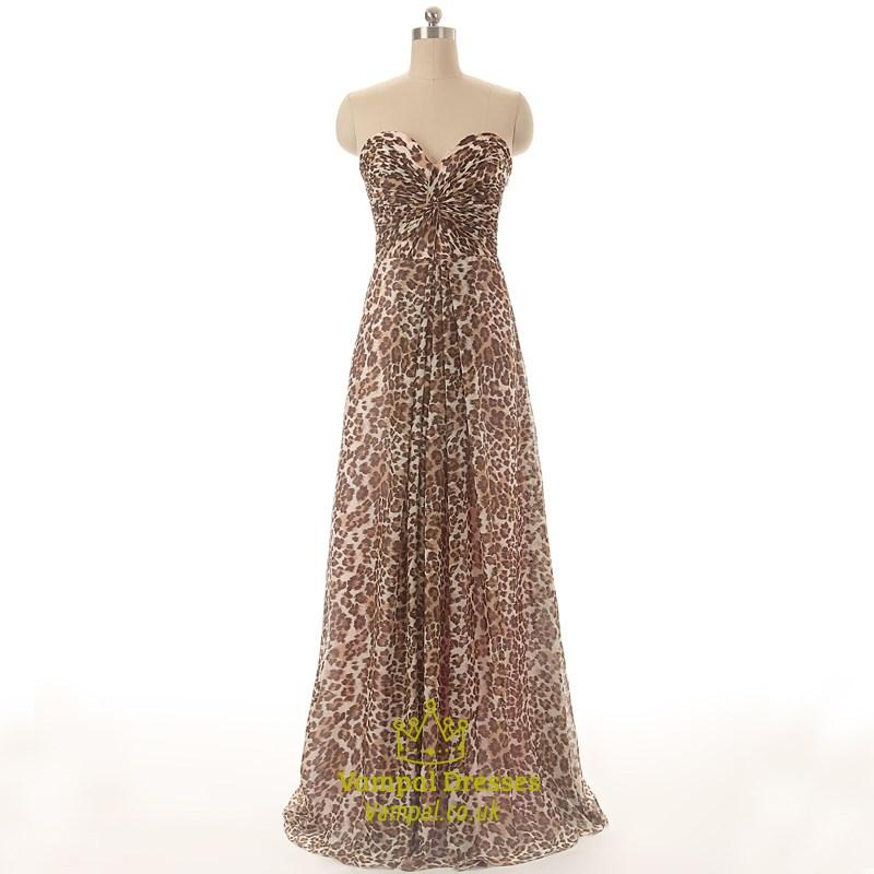 75611230a1 Leopard Print Strapless Sweetheart Floor Length A-Line Evening Dress