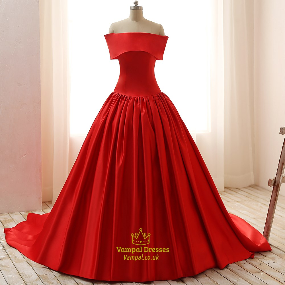 Red Off-The-Shoulder Elegant Floor Length A-Line Ball Gown Prom ...