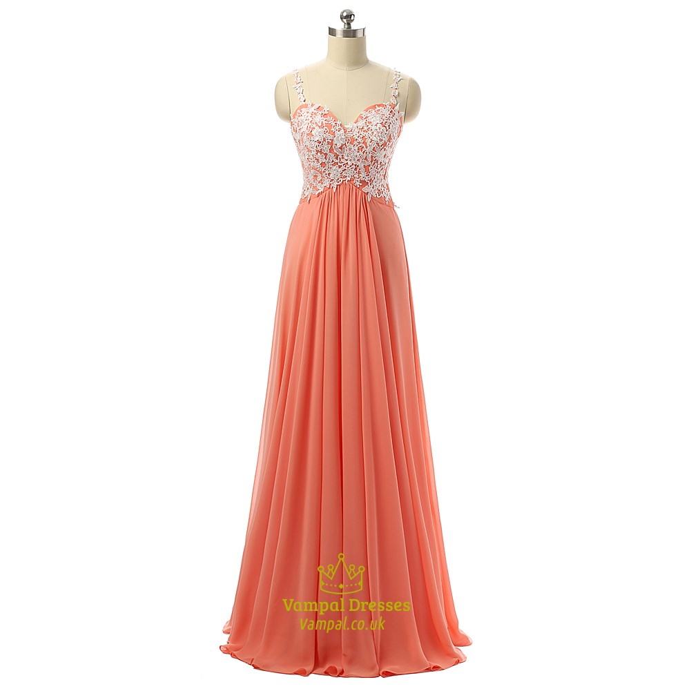Floor length sleeveless sweetheart a line chiffon prom for Floor length gowns