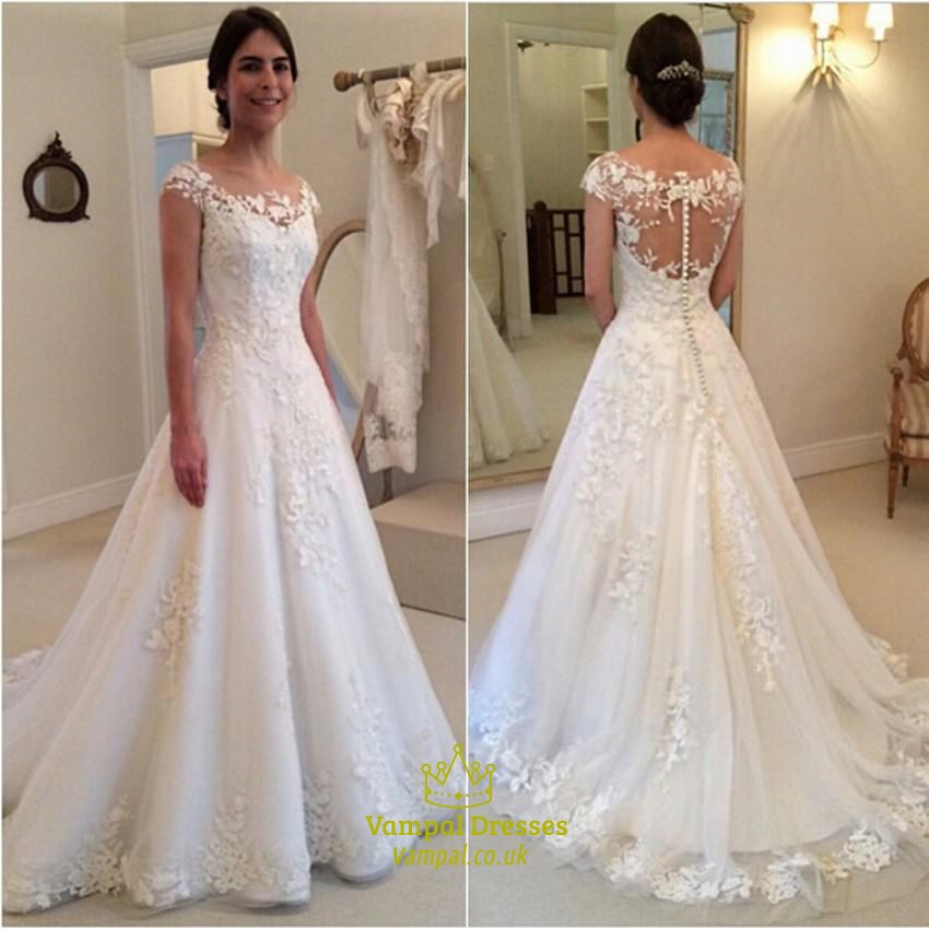 A Line Wedding Dress.White A Line Cap Sleeve Lace Applique Wedding Dress With Illusion Back