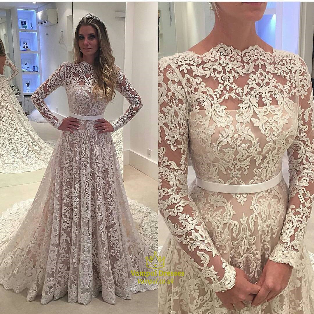 Elegant Illusion Lace Overlay Long Sleeve Wedding Dress With Train ...