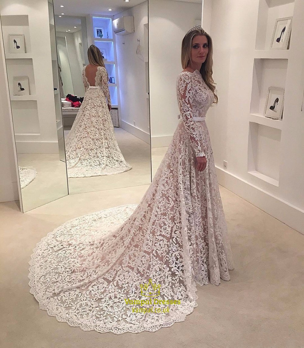 Elegant Illusion Lace Overlay Long Sleeve Wedding Dress
