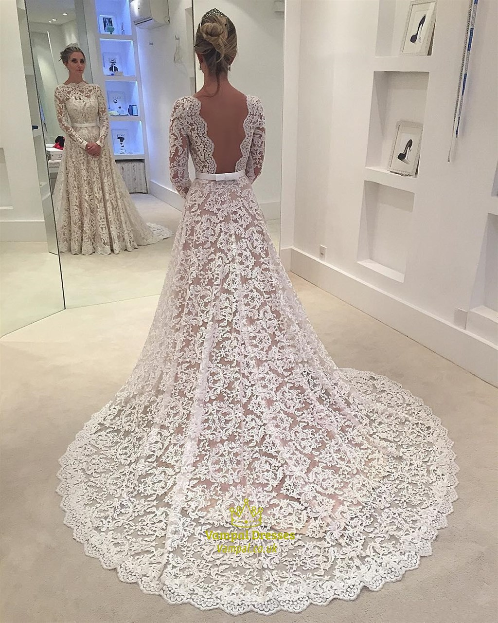 Elegant illusion lace overlay long sleeve wedding dress for Lace wedding dress overlay