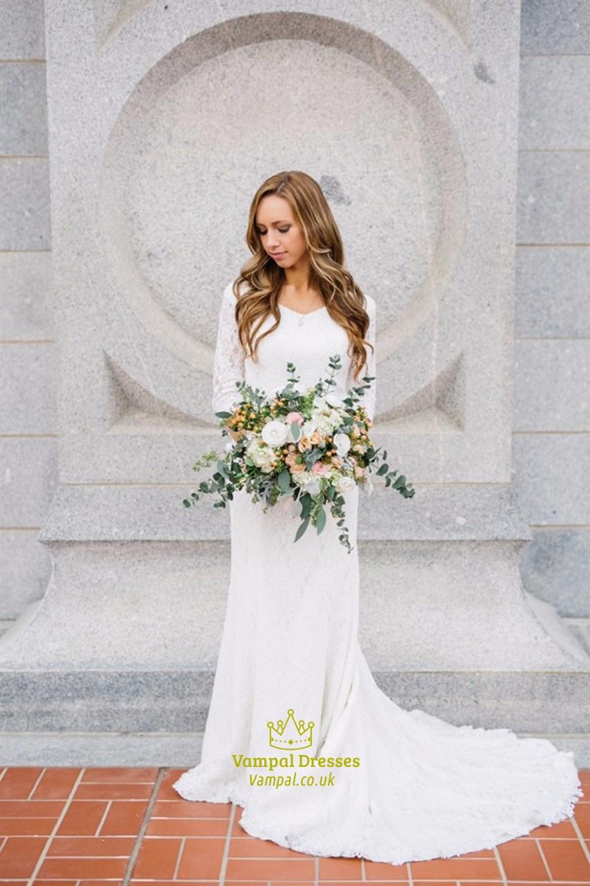 Elegant White 20/20 Length Sleeve V Neck Floor Length Lace Wedding Dress