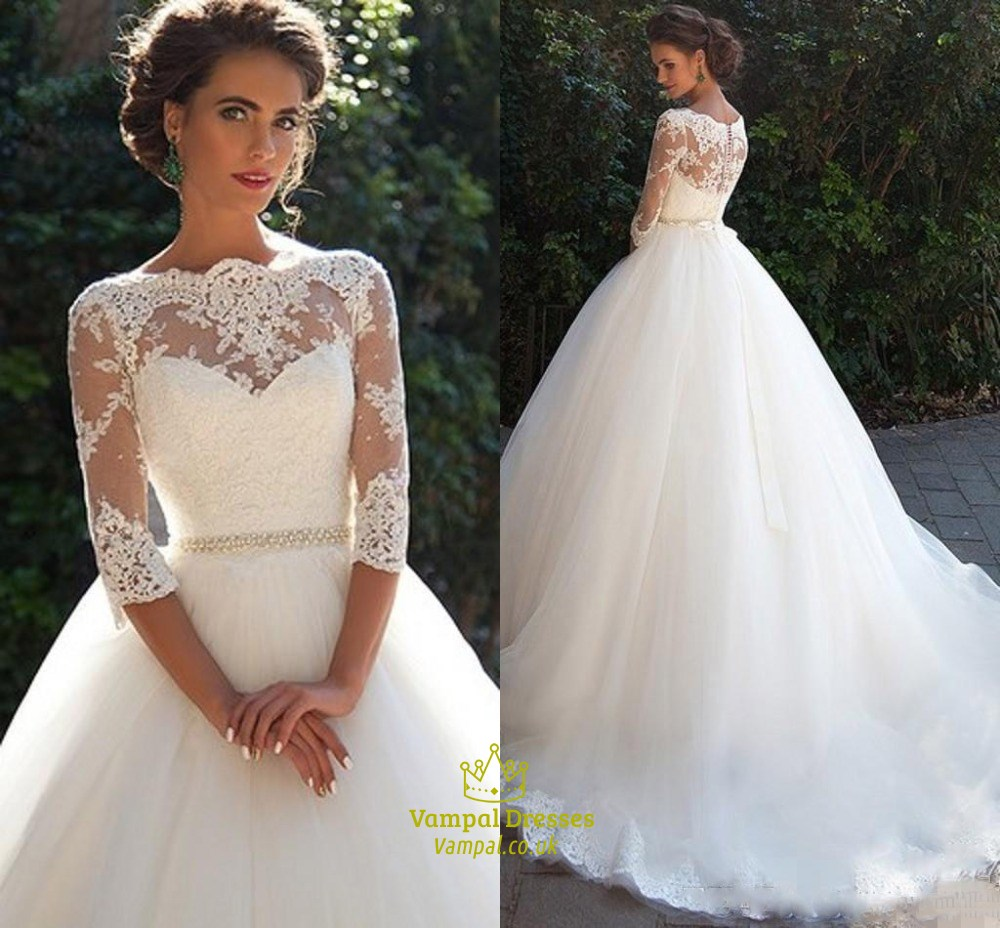 Illusion Lace Bodice 3/4 Length Sleeve Tulle Ball Gown Wedding Dress ...