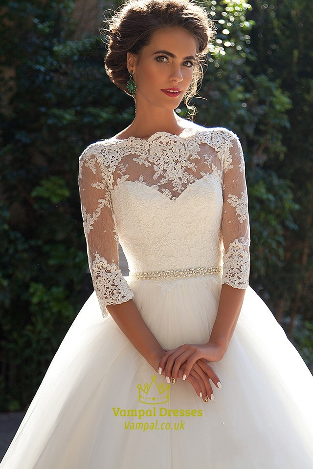 Illusion lace bodice 3 4 length sleeve tulle ball gown for 3 4 sleeve ball gown wedding dress
