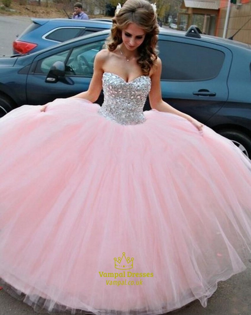 Pink Strapless Tulle A-Line Ball Gown Wedding Dress With Beaded ...