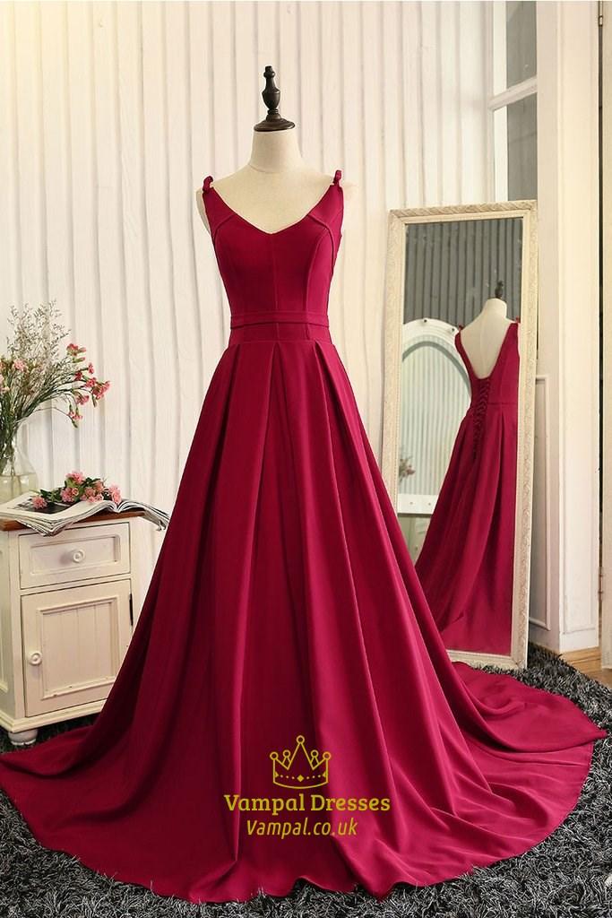 Burgundy Sleeveless V-Neck A-Line Floor Length Ball Gown Prom Dress ...